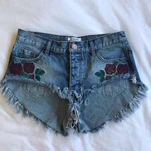 One Teaspoon Embroidered Roller Shorts